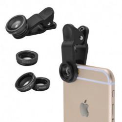 Kit Negro de 3 lentes para celular