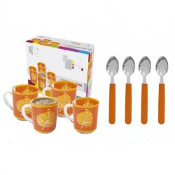 Set de 4 tazas deco y cucharitas Carol