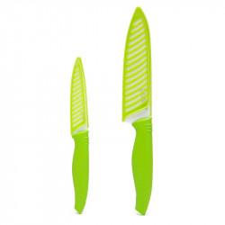 Cuchillos Kimura con hoja ceramica set x2 28,5cm 21,5cm mango silicona color verde con hoja blanca kimura