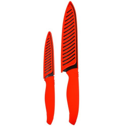 Cuchillos con hoja ceramica set x2 28,5cm 21,5cm mango silicona color rojo con hoja negra kimura