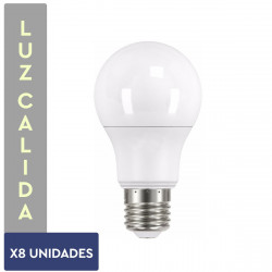 PACK X8 LAMPARAS LED LUZ BLANCO CALIDA 7W