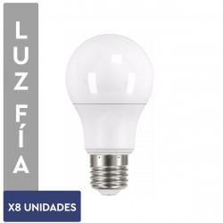 PACK X8 LAMPARAS LED LUZ BLANCO FRIO 9W