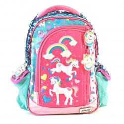 "Mochila Kooshi Pony Celeste Espalda 12"""