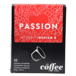 Capsulas de Cafe The Coffee Store compatibles Nespresso Passion Meio