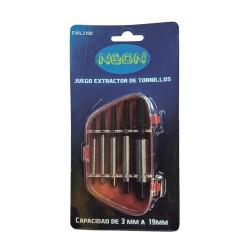 Juego de extractores de tornillos x5 piezas (3-19 MM) Neon EVOL2100