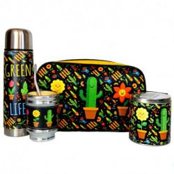 Kit de Bolso de Mano con termo Cactus