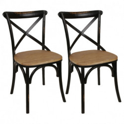 Set X2 Sillas Thonet Cross De Madera Antique ( Degastada) Asiento Madera Negro
