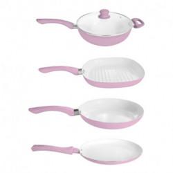 Bateria de cocina 9 piezas Rosa Carol Linea Soft