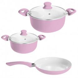 Bateria de cocina 5 piezas Rosa Carol Linea Soft (4718+4724+71424)