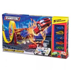 Pista Street Smash Con 5 Autos Original Teamsterz Wabro