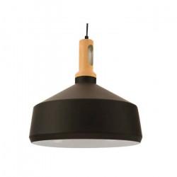 Lamparas Colgantes Kassia Moderno Negro Metal Madera E27 Leuk