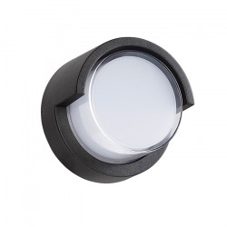 Aplique Circular Kyklo Exterior 9W Led Negro Jardin Diseño Leuk