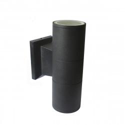 Aplique Unidireccional Aluminio Apto Led Gu10 Negro Exterior Leuk