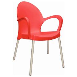 Mueble De Jardin - Exterior Silla - Sillon Tramontina Grace Roja Plastico Diseño Liso y Apoyabrazo