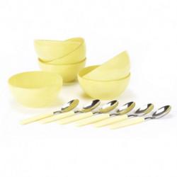 Set de bowls con cuchara 12 pzs Amarillo Carol
