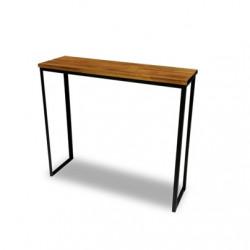Mesa de arrime ancha de madera y estructura de hierro. Envíos a todo el país.