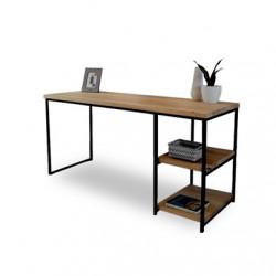 Escritorio con 2 estantes modelo Minimal de madera y estructura de hierro. Envíos a todo el país.