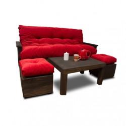 ¡No te puede faltar uno! Futón Premium 3 cuerpos tapizado en Chenille más mesa y 2 puff.
