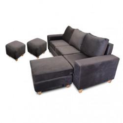 ¡COMBO IMPERDIBLE! Juego sillón esquinero móvil Premium 3 cuerpos tapizado en Pana más 2 puff.