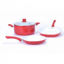 Bateria de cocina ceramica 4 pzs Rojo Carol