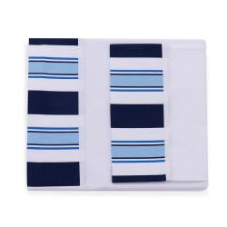 Juego de sabanas batista para cuna colecho Rayado azul y blanco