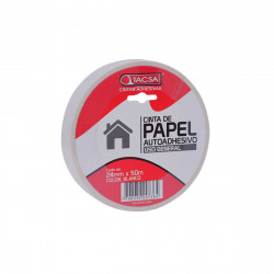 Cinta de papel blanca 24mm x 50m Tacsa