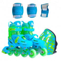 rollers-cougar-885-talle-27-30-azul-casco-rodillera-munequera