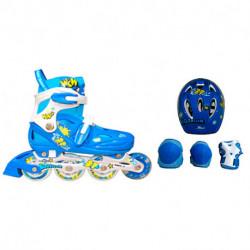 rollers-cougar-615-talle-33-37-azul-casco-rodillera-munequera