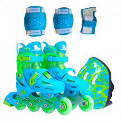 rollers-cougar-885-talle-31-34-azul-casco-rodillera-munequera