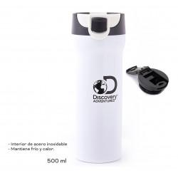 Vaso Termico Discovery 500ml Acero Doble Capa Abertura Push Blanco