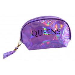 Portacosmeticos Neceser Tornasolado Semicircular Queens Violeta