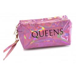 Portacosmeticos Neceser Tornasolado Rectangular Queens Rosa
