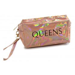 Portacosmeticos Neceser Tornasolado Rectangular Queens Oro Rosado