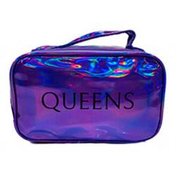 Portacosmeticos Neceser Queens Tornasolado C/manija Violeta