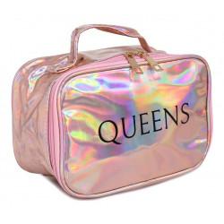 Portacosmeticos Neceser Queens Tornasolado C/manija Oro Rosado