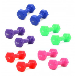 Pesa Mancuerna 3kg Recubierta De Goma Gym Fitness (x1) Azul