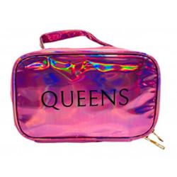 Portacosmeticos Neceser Queens Tornasolado C/manija Rosa