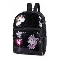Mochila Escolar Unicornio Lentejuelas Reversibles 8675 Negro