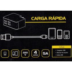 CARGADOR KANJI KJ-CH5V1SD 4 PUERTOS USB 5V 5A