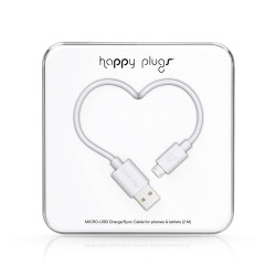 CABLE HAPPY PLUGS USB A MICROUSB 2MTS ANDROID WHITE