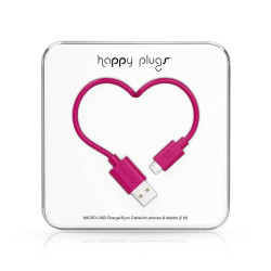 CABLE HAPPY PLUGS USB A MICROUSB 2MTS ANDROID CERISE