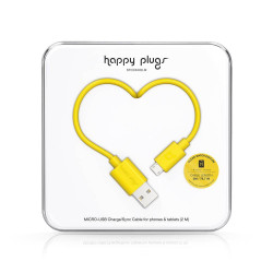 CABLE HAPPY PLUGS USB A MICROUSB 2MTS ANDROID YELLOW