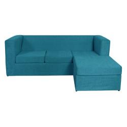 Sillón Esquinero Cubo Reversible 3 Cuerpos De Chenille Turquesa Mi Sofa