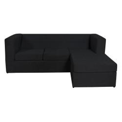 Sillón Esquinero Cubo Reversible 3 Cuerpos De Chenille Negro Mi Sofa