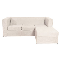 Sillón Esquinero Cubo Reversible 3 Cuerpos De Chenille Crudo Mi Sofa