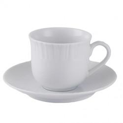 Taza De Te Con Plato Labrado Porcelana Blanca 180 cc