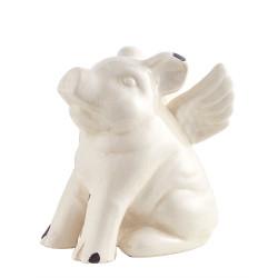 Figura Decorativa Chancho Blanco Con Alas 23 x 15