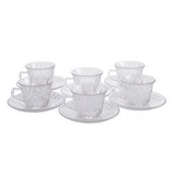 Set x 6 Tazas De Te Con Plato Diamante Vidrio 180 cc