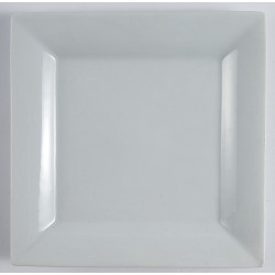 Plato Cuadrado De Mesa Ceramica Blanca 27 x 27