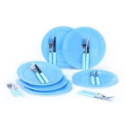4 Platos + 4 Cuchillos Y Tenedores Carol - Celeste
